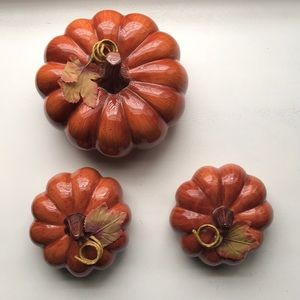 SET OF 3 ACCENT CERAMIC PUMPKINS